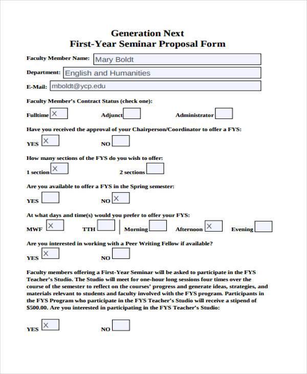 generation next first year seminar proposal form