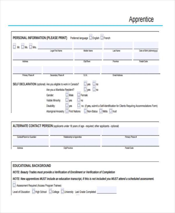 generic apprenticeship contract form