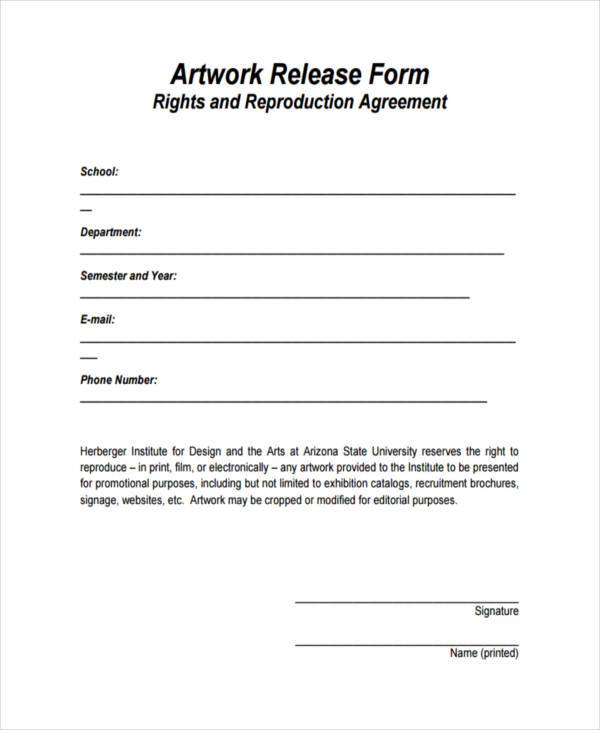 9 artwork release form samples free sample example for Free photography print release form template