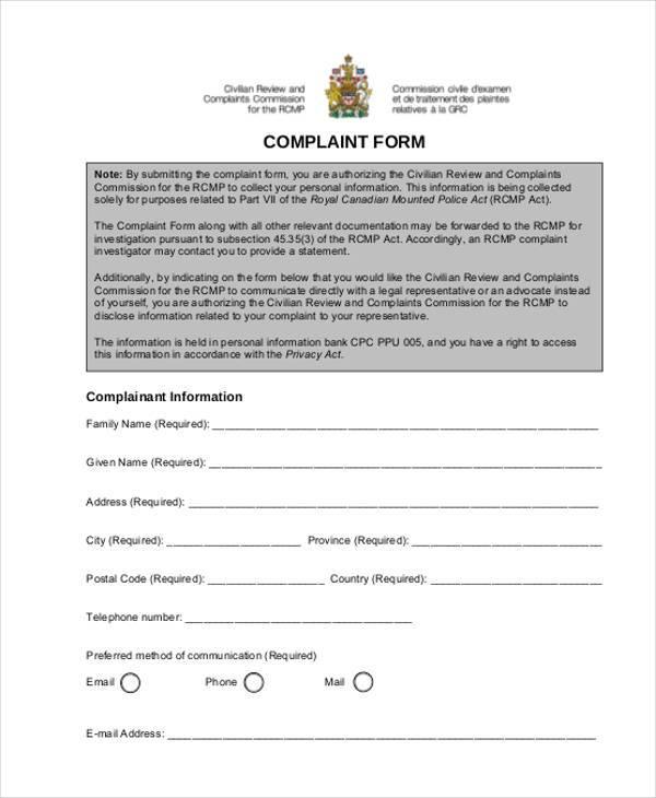 generic blank complaint form