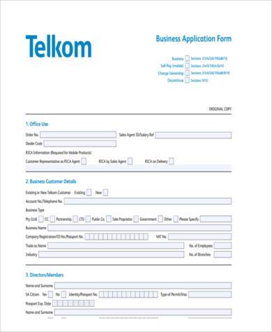 generic business application form
