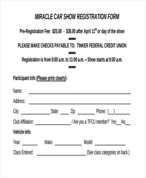 generic car show registration form1