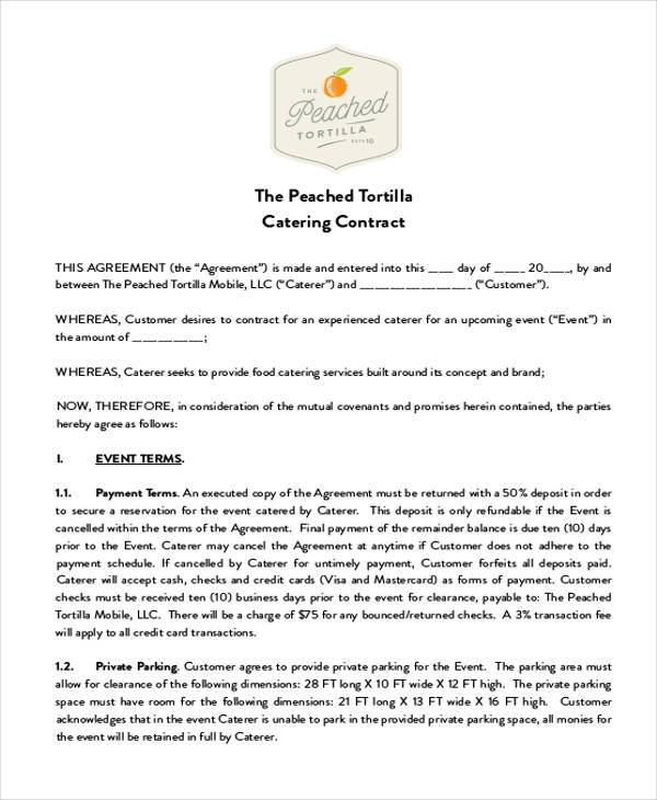 Catering Contract Form Samples  Free Sample Example Format Download