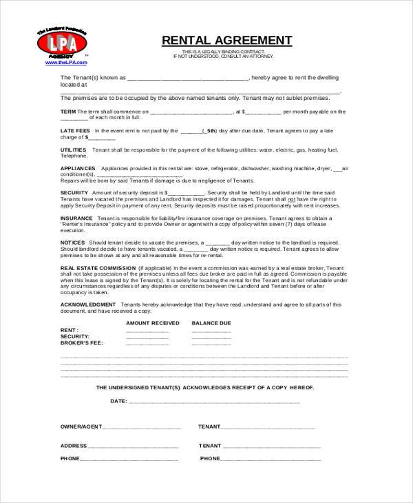 generic commercial rental agreement form