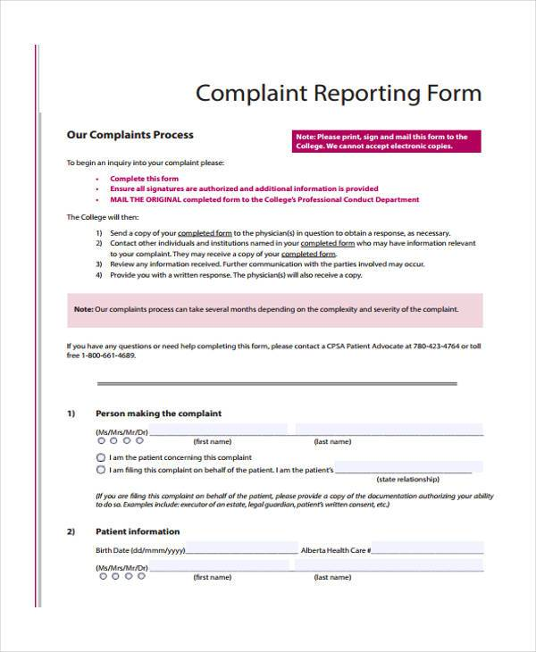 Sample Complaint Reporting Forms - 7+ Free Documents in Word, PDF