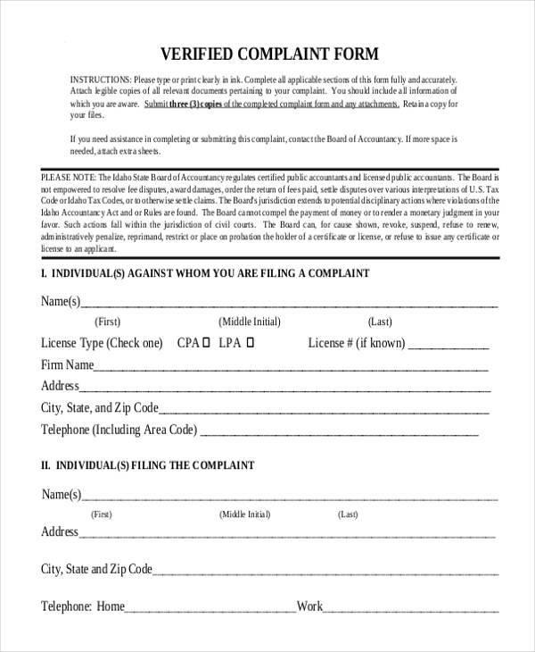generic complaint verification form