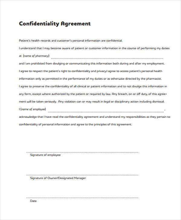 8+ Confidentiality Agreement Form Samples - Free Sample, Example ...