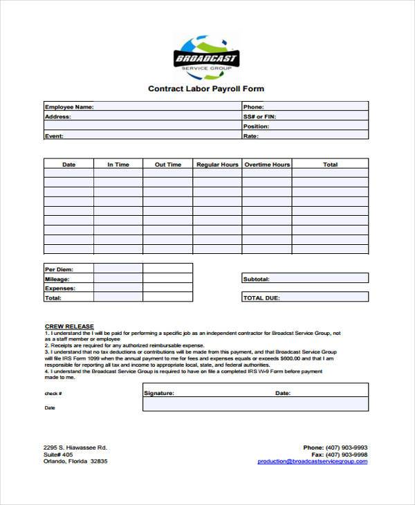generic contract labor form
