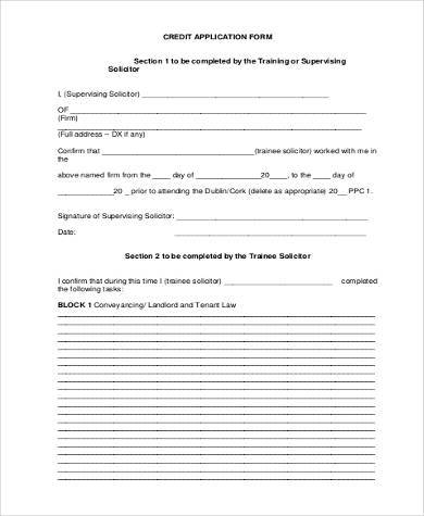 Generic-Credit-Application-Form-PDF Job Application Form Sample Format Word on