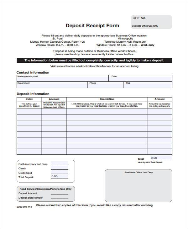 7+ Deposit Receipt Form Samples - Free Sample, Example Format Download