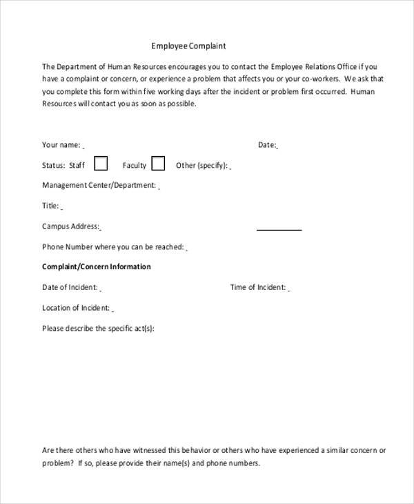 Generic Complaint Form Samples  Free Sample Example Format