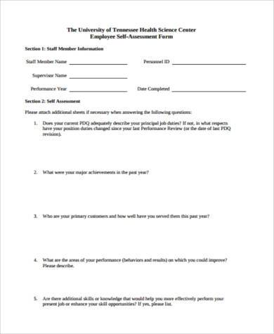 generic employee self assessment form
