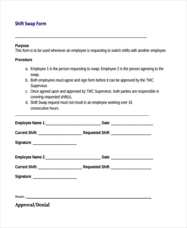 shift swap form Sample Employee Shift Change Forms - 7  Free Documents in Word, PDF