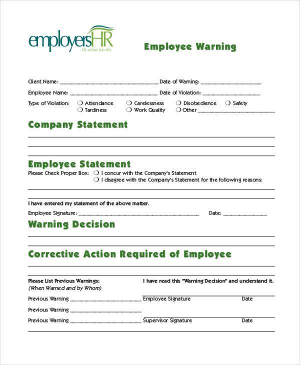 generic employee warning form