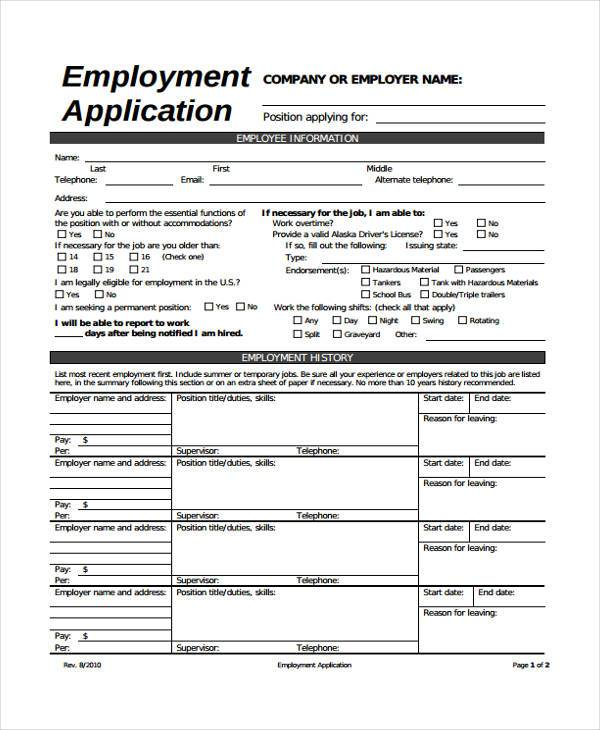 generic employment application form