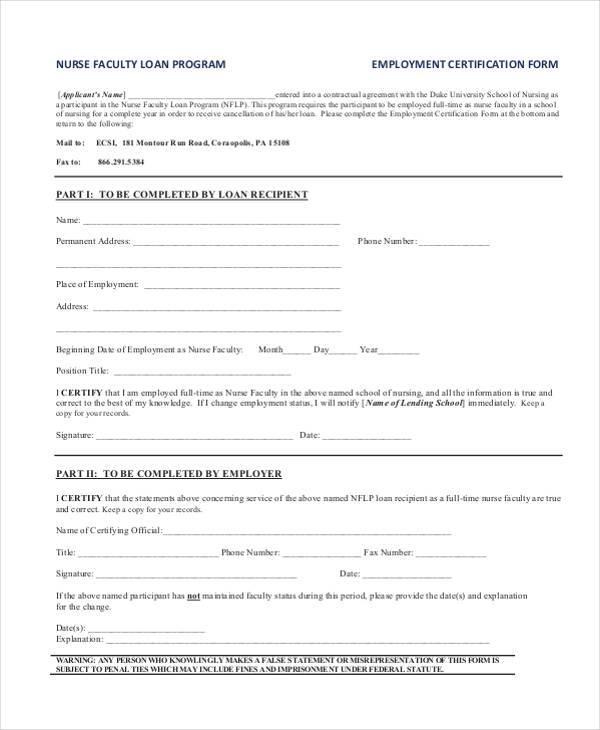 generic employment certification form