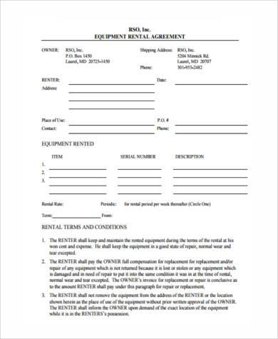 generic equipment rental agreement form
