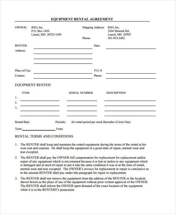Generic Equipment Rental Agreement Form  Generic Rental Contract