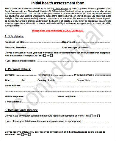 generic health assessment form