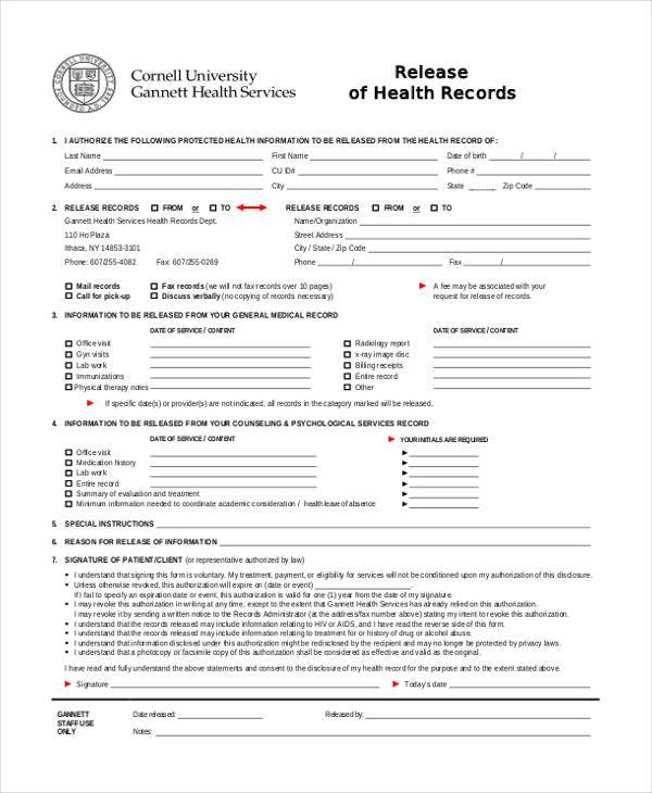 generic health records release form