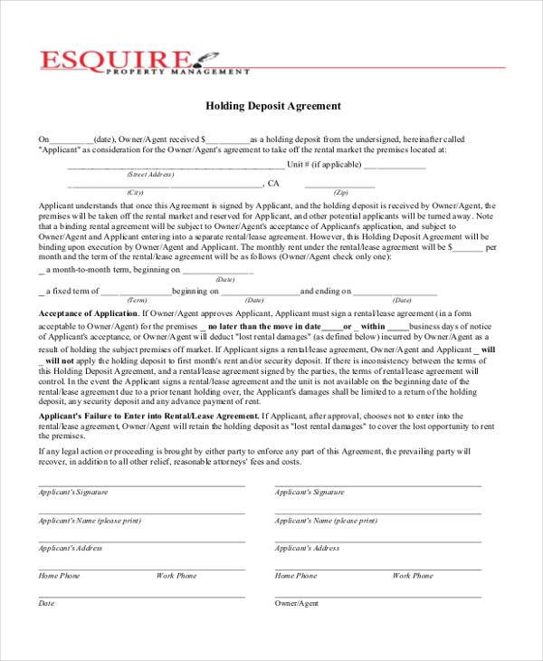 generic holding deposit agreement form