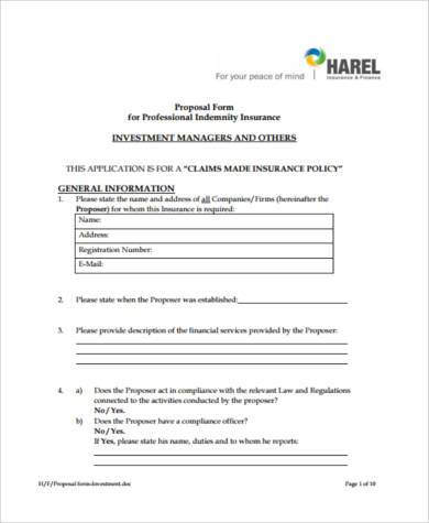 generic investment proposal form