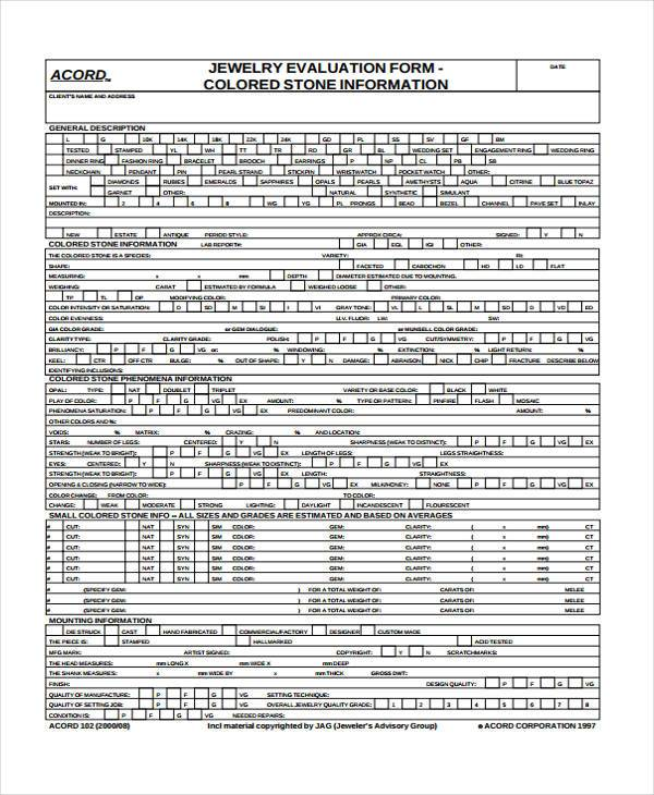 7+ Jewelry Appraisal Form Samples - Free Sample, Example Format ...
