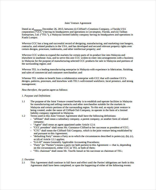 Sample joint venture agreement forms 8 free documents for Jv agreement template free