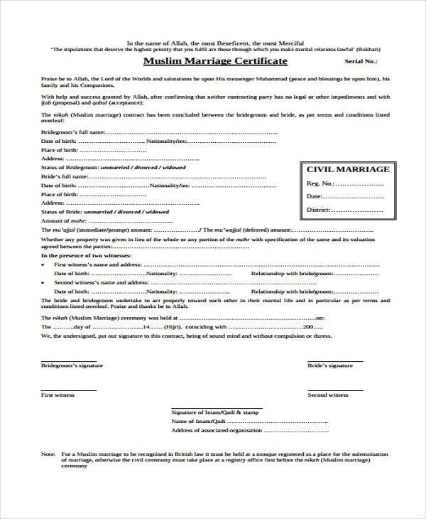 generic marriage contract form