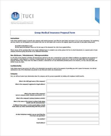 generic medical proposal form
