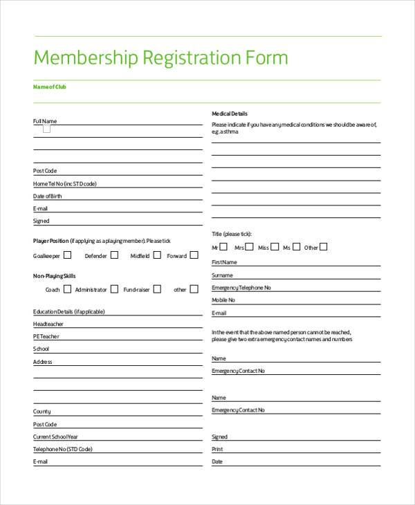 Sample Membership Registration Forms   Free Documents In Word Pdf