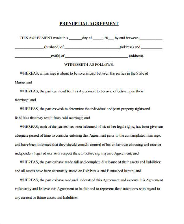 Sample Postnuptial Agreement Forms 7 Free Documents In Word Pdf