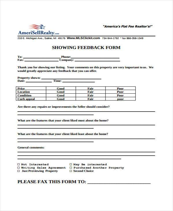 generic real estate feedback form
