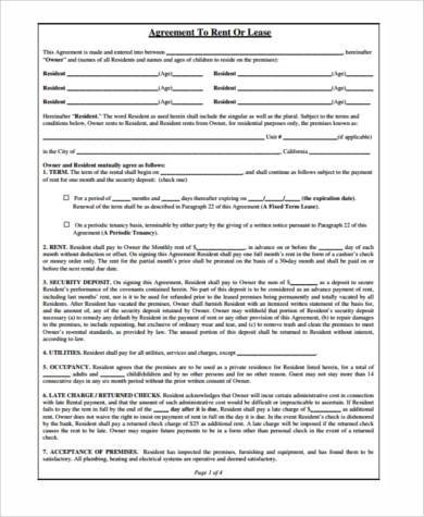 generic rental agreement form example