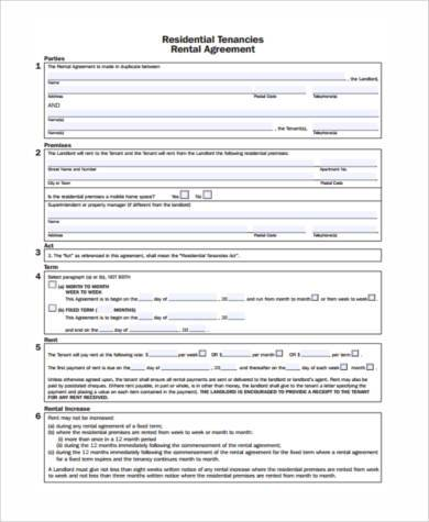 Generic Rental Agreement Form Samples   Free Documents In Word Pdf