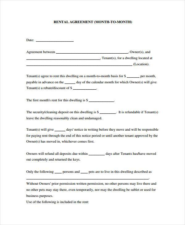 Generic Rental Agreement Form Samples  Free Sample Example