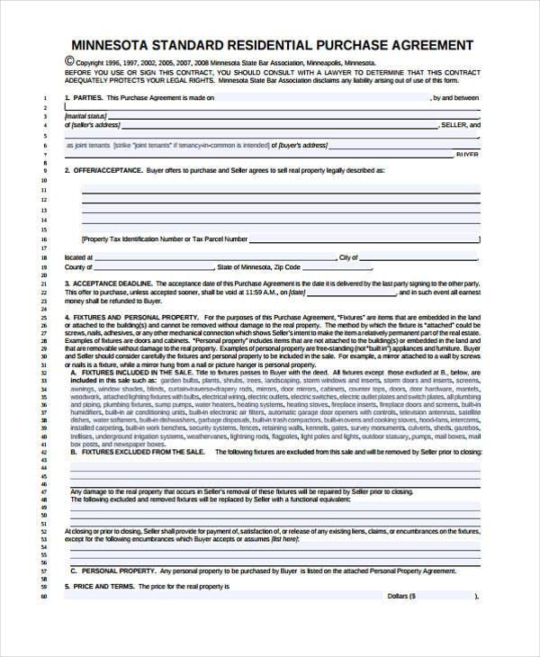 Generic Residental Purchase Agreement Blank Form  Blank Purchase Contract