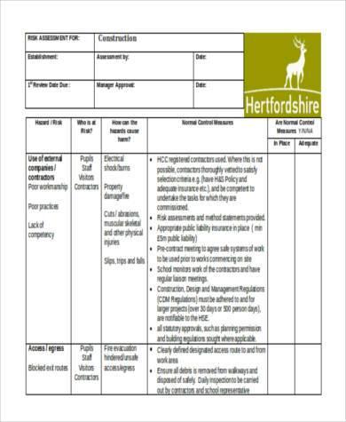 generic risk assessment form construction