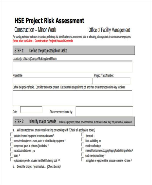 generic risk assessment form construction1