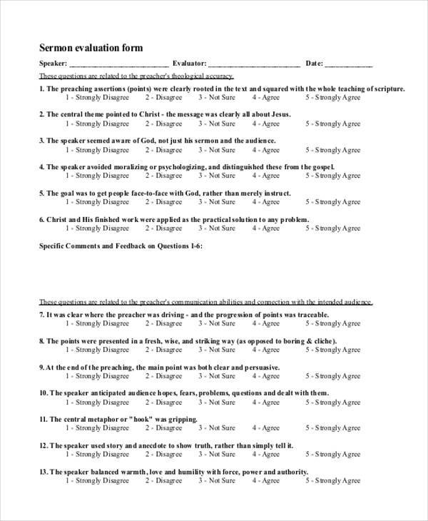 Sample Sermon Evaluation Forms   Free Documents In Word Pdf