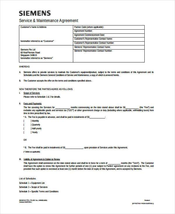 generic service contract agreement form