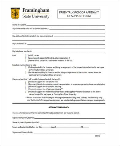 generic sponsor affidavit of support form