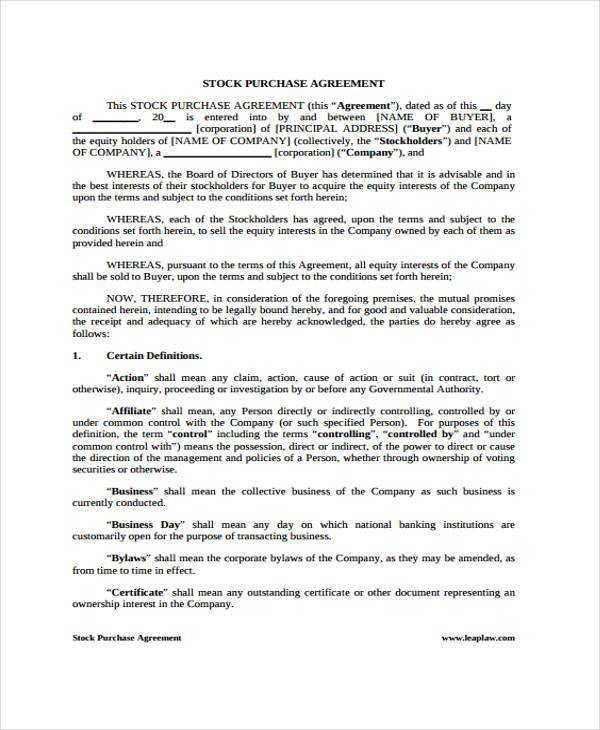 Doc575709 Purchase Agreement Template Purchase – Stock Purchase Agreement