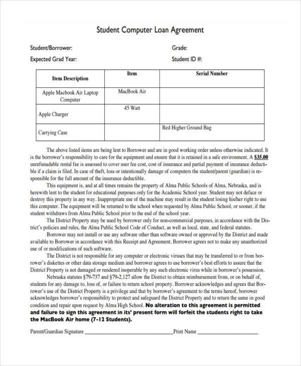 generic student loan agreement form