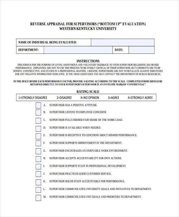 generic supervisor appraisal form