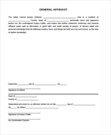 generic sworn affidavit form