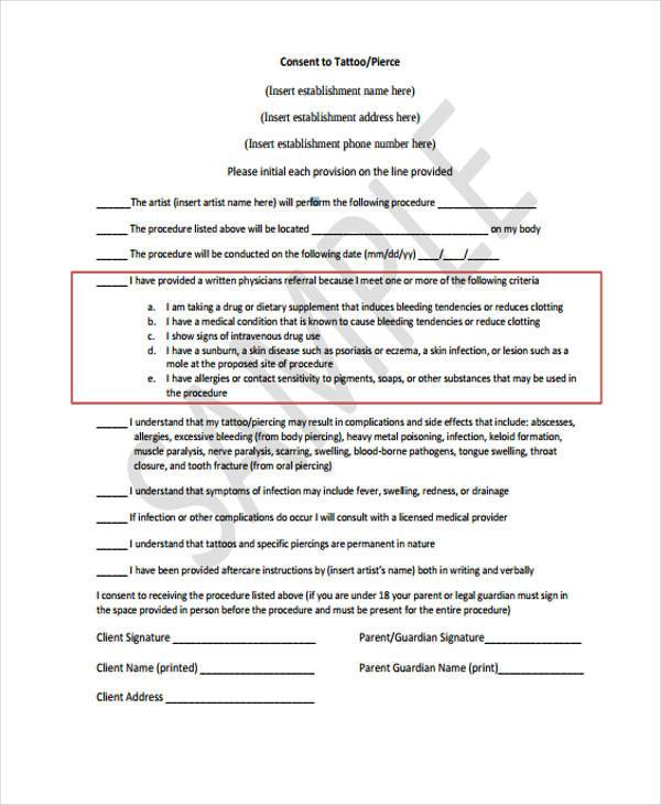 Generic Tattoo For Men Or Women Small: FREE 8+ Sample Tattoo Consent Forms In WORD