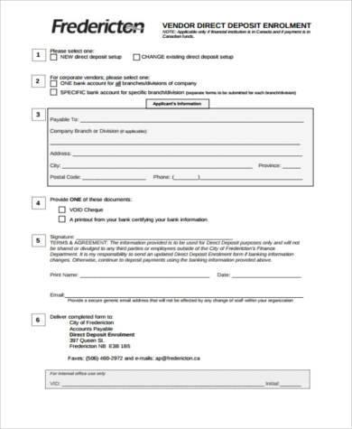 generic vendor direct deposit form