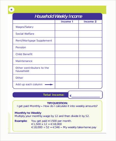 generic weekly budget form