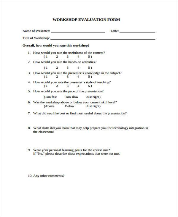 Workshop Evaluation Form Samples  Free Sample Example Format